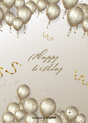 the golden balloon background for the luxurious birthday party , Gorgeous, Coloured Ribbon, Party Background image