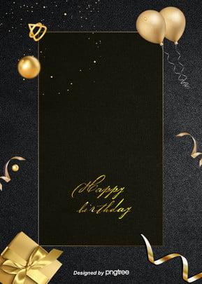 The Golden Balloon Background for the Luxurious Black Birthday Party , Gorgeous, Coloured Ribbon, Party Background image