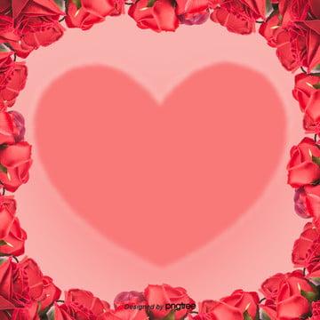 粉色愛心情人節玫瑰邊框效果背景設計 , 剪紙, 愛心, 浪漫 背景圖片