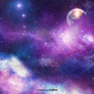 紫色月深夜星空の背景デザイン , 夜の夜, 星, 星の川 背景画像