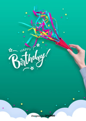 ブルーの写実スタイルでお誕生日おめでとうございます , 実を書く, 写実風, 手を持つ 背景画像