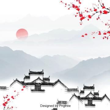中国風シンボル建築水墨山水背景設計 , 中国風, 山の峰, シンボル建築 背景画像
