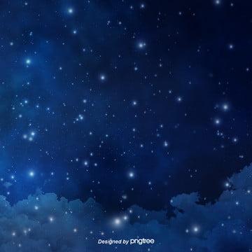 青い深夜の星空の背景デザイン , 夜の夜, 星, 星の川 背景画像
