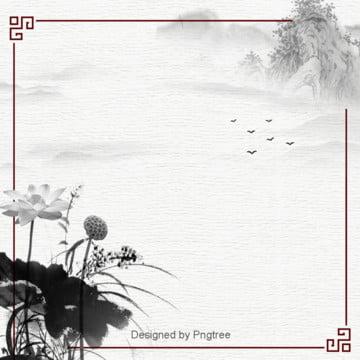 中国風荷花水墨山水背景設計 , 唯美, 雁が出る, 水墨 背景画像