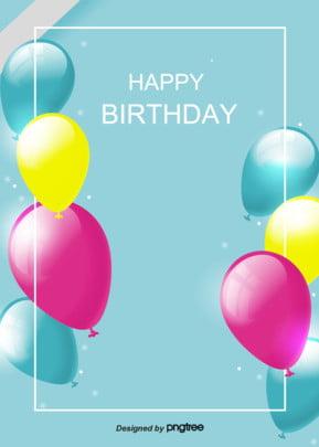青色の写実の多彩な風船の誕生日おめでとうございます背景 , 実を書く, 写実風, 多彩 背景画像