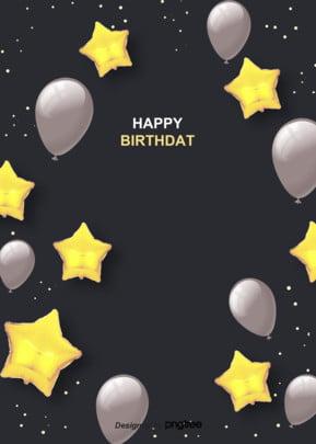 黒金写実スタイルの洗練された誕生日おめでとうございます , 実を書く, 写実風, 大気 背景画像