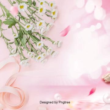 ピンクの美しい花の美化粧の背景 , リボン, 唯美, 化粧品 背景画像