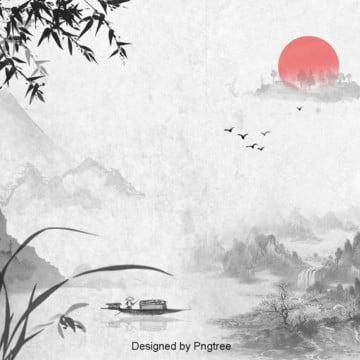 中国風水墨山水紅日の背景設計 , 中国風, 唯美, 雁が出る 背景画像