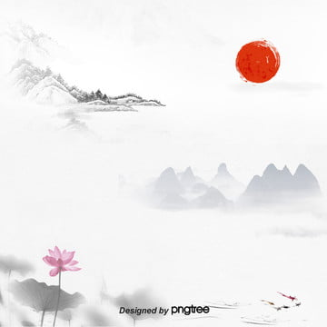 simple and elegant background of lotus red sun mountain commercial advertisement e commerce art ink painting , Chinese Style, Tradition, Sunlight Background image