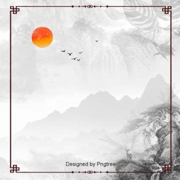 中国風の枠の水墨風の背景 , 中国風, 唯美, 雁が出る 背景画像