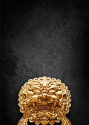 gió thiết kế nền vàng trung quốc , Trung Quốc Phong, 狮头, Thiết Kế Nền Ảnh nền