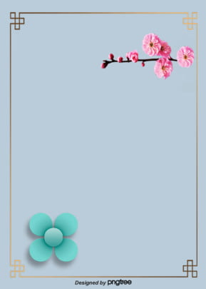 Design Of Chinese Wind Border Plum Blossom Background, Chinese Style, Branch, Plum Blossom, Background image