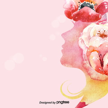 background of womens day of march 8th in pink aesthetic watercolor wind , Background Of March 8th Womens Day, Side Face, Aestheticism Background image