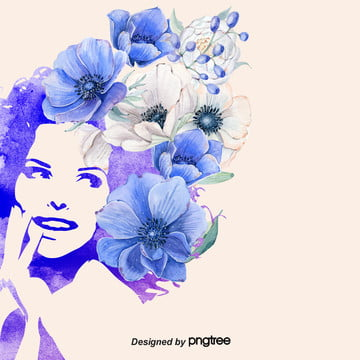 Blue purple Bright Watercolor Wind Background of Womens Day , Background Of March 8th Womens Day, Cartoon, Leaf Background image