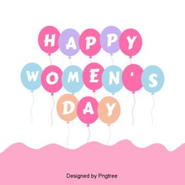 扁平化三八婦女節彩色氣球背景 , 三八婦女節, 可愛, 彩色 背景圖片