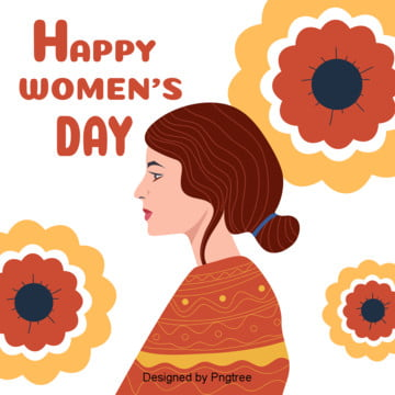 Flattening the Background Elements of Womens Flowers on Womens Day , March 8th Womens Day, Woman, Orange Background image