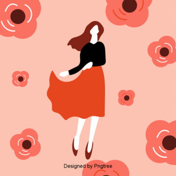 die rote frau flach der frauentag blumen   hintergrund , Der Frauentag, Frau, Frauen Hintergrundbild