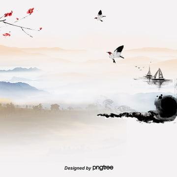 中国風広告の水墨スタイルの背景 , 中国風, 主図, 雁が出る 背景画像
