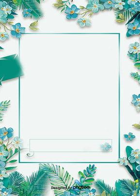 青い花の花辺の枠のプロモーションの背景 , 販促, 文案, ポスター 背景画像