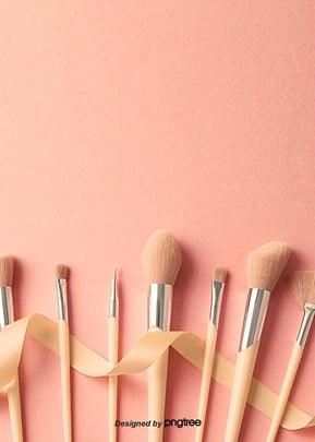 poster cor   de   rosa  fundo cor de maquiagem cosméticos , Escova, Cosméticos, Maquiagem Imagem de fundo
