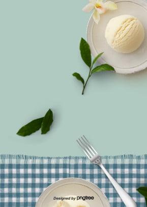 신선한 녹색 잎 디저트 음식 배경 , 포크, 소프트 창백한, 디저트 배경 이미지