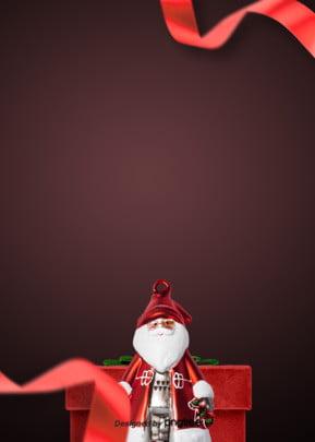 赤いリボンのサンタクロースセットの背景 , リボン, サンタクロース, クリスマス 背景画像