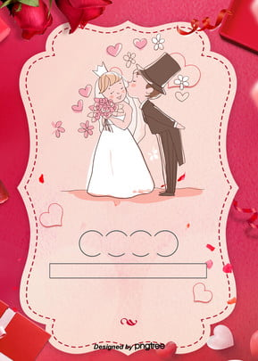 red romantic love wedding and wedding background , Wedding Celebration, Wedding, Hand-painted Characters Background image
