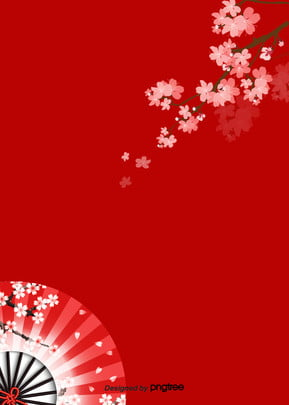 aesthetic wind background of red japanese cherry folding fan , A Gentle Wind, Aestheticism, Hand Painted Background image