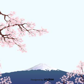 日式特色櫻花富士山背景 , 富士山, 日本風, 櫻花 背景圖片