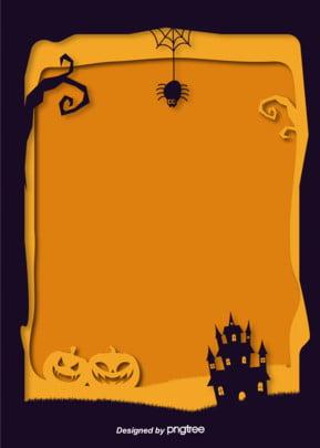हेलोवीन महल कद्दू  मकड़ी सीमा पृष्ठभूमि , हेलोवीन, कद्दू, महल पृष्ठभूमि छवि