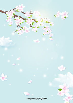 青い桜の枝が花びらの花が澄んでいる清新な背景 , 雲の輪, 空, 春の日 背景画像