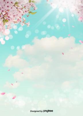桜の花が雲の花の花の花の春の澄んだ青空の背景 雲の輪 空 春の日 背景画像