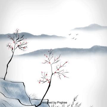 中国風の水墨の煙は風景の背景をくらくらしている , 中国風, 雁が出る, 木 背景画像