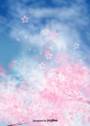 桜の青空イラストの背景 , 雲, 唯美, おめでたい 背景画像