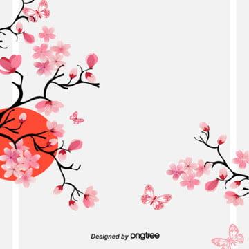 日式櫻花太陽邊框背景 , 夢幻, 櫻花, 清新 背景圖片