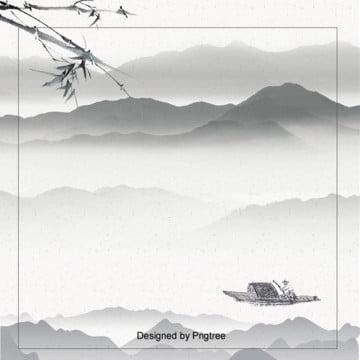 中国風水墨風景背景 , 中国風, 山河, 水墨 背景画像