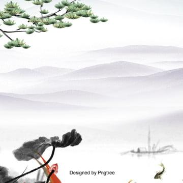 中国風水墨風景背景 , 中国風, 山河, 木 背景画像