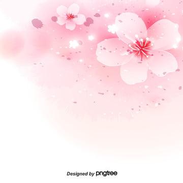 粉色漸變浪漫櫻花素材背景 , 女性, 櫻花, 櫻花素材 背景圖片