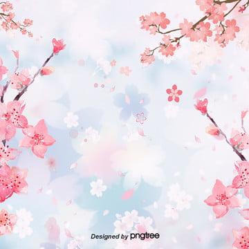 浪漫漸變創意櫻花背景 , 可愛, 手繪風, 櫻花 背景圖片