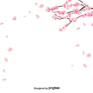 簡約卡通櫻花邊框背景 , 可愛, 扁平化, 櫻花 背景圖片