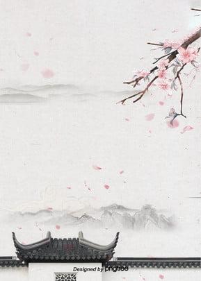中国風建築風景の枝の背景 , 中国風, 復古, 軒並み 背景画像