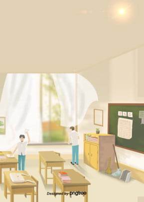 background of student cleaning classroom design , Student, Cleaning, Classroom Background image