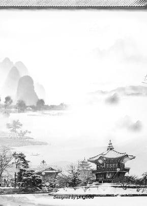 中国風水墨建築風景背景 , 中国風, 古い建築, 唯美 背景画像