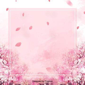 粉色櫻花春天邊框背景設計 , 春天, 桃花, 櫻花 背景圖片