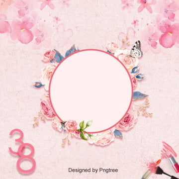 Background Design of Womens Day in Pink Flowers , Goddess Festival, Womens Day, Simple Background image