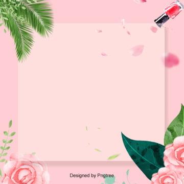 ピンクのきれいな花の美化粧枠の背景 , 口紅, 大気, 簡素な約束 背景画像