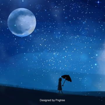 Blue Star Girl Handpainted Background, Night, Girl, Starry Sky, Background image