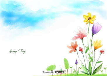 pintados à mão flor primavera colorida estilo vida maravilhosa ilustração de fundo, Colorido, Pintados à Mão, Pintados à Mão Estilo Imagem de fundo