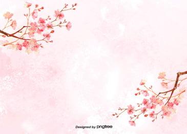 सुंदर चेरी खिलना पृष्ठभूमि तत्वों, सुंदर, हाथ चित्रित, चित्रण पृष्ठभूमि छवि