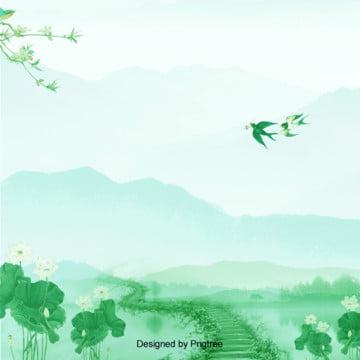 水墨綠色春天踏青背景 , 春天, 水墨, 立春 背景圖片